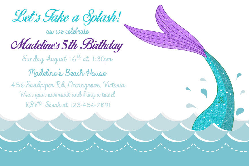 mermaid birthday invitation,