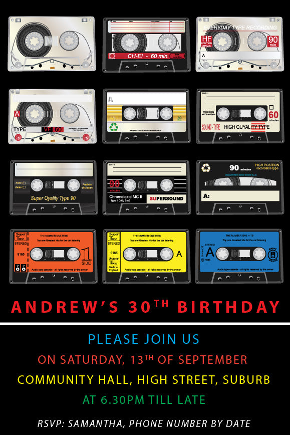 retro tape birthday invitations, 80's retro tape party invitation,