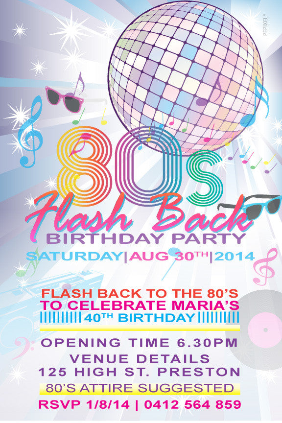 80's birthday party invitation, 80's theme birthday party invitation,