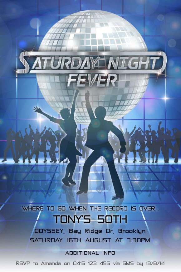 70s disco retro birthday invitation, Saturday night fever party invitation,
