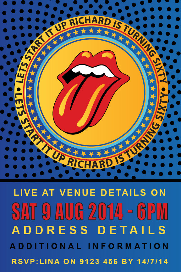 Rolling stones birthday party invitation,