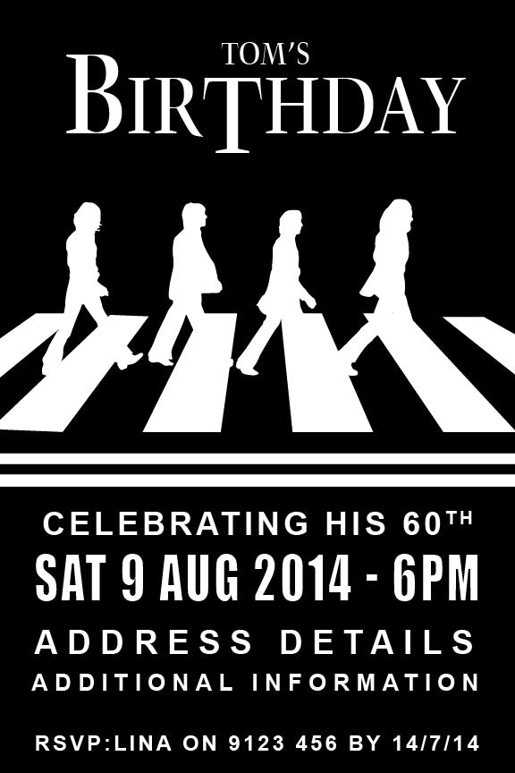 Beatles birthday invitation, Abby road party invitation,