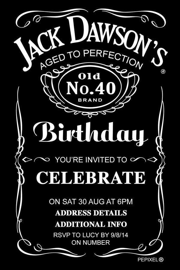 jack daniels birthday digital printable invitation template pepixel. Black Bedroom Furniture Sets. Home Design Ideas