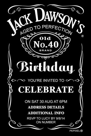 Jack Daniels birthday party invitation,