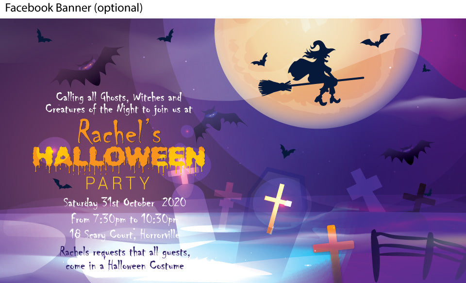 bats and flying witch Halloween party invitation, facebook event banner