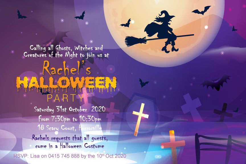 bats and flying witch Halloween party invitation,