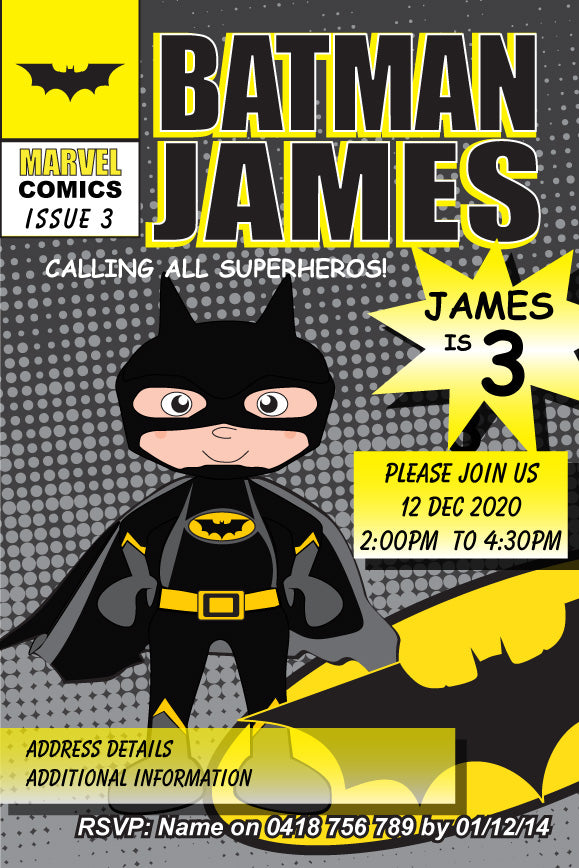 Comic book batman birthday party invitations