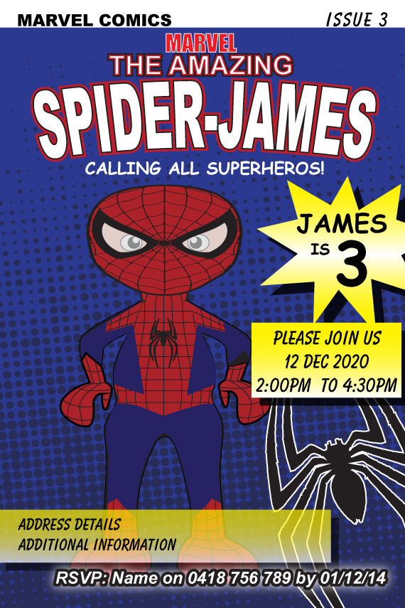 Spiderman comic book birthday party invitation