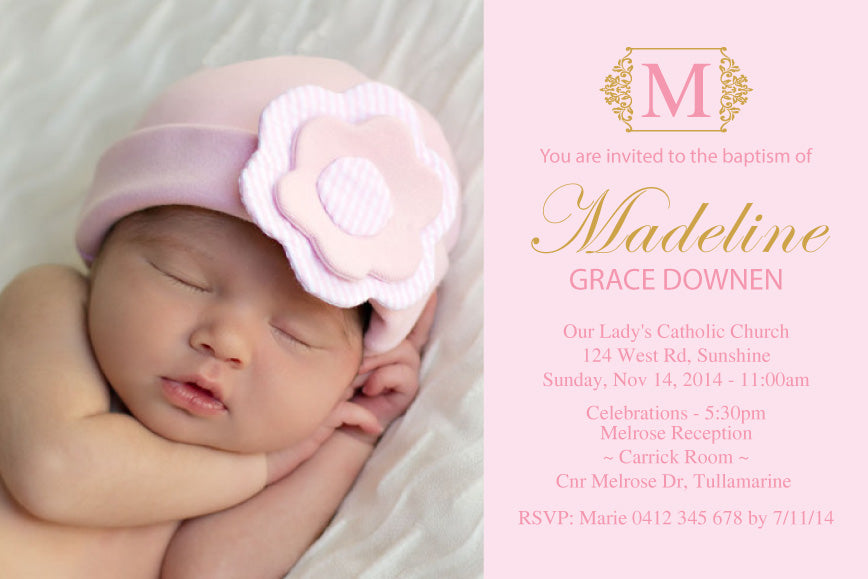 pink and gold photo baptism invitation, pink and gold christening invitation,
