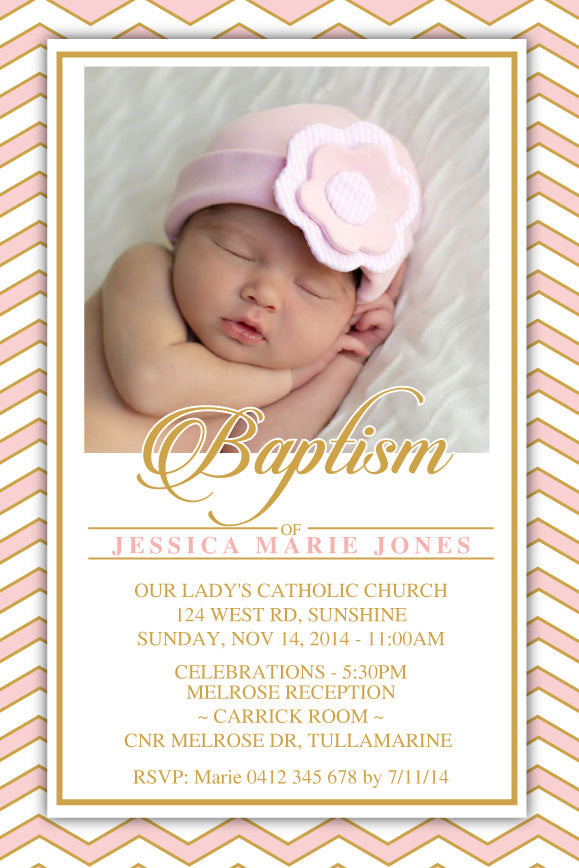 pink and gold Baptism invitations, Pink and gold christening invitation