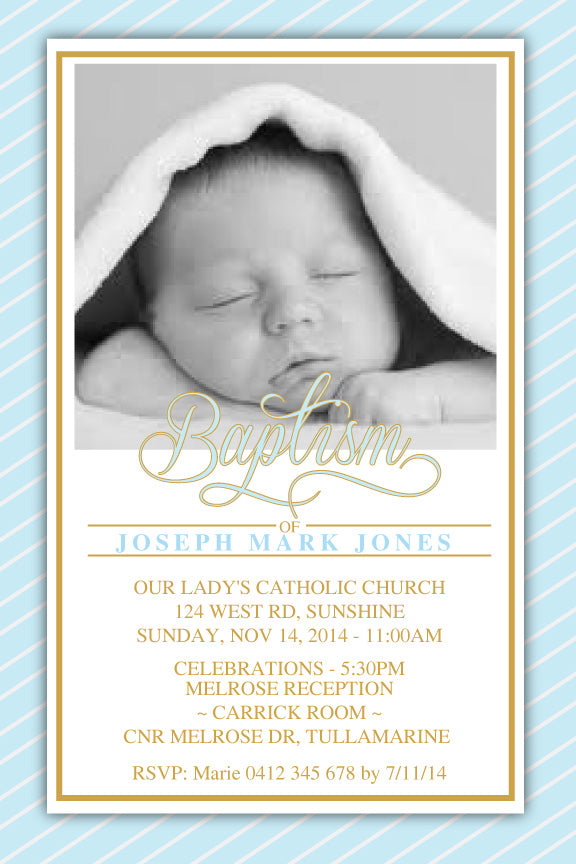 blue and gold Baptism invitations, blue and gold christening invitation