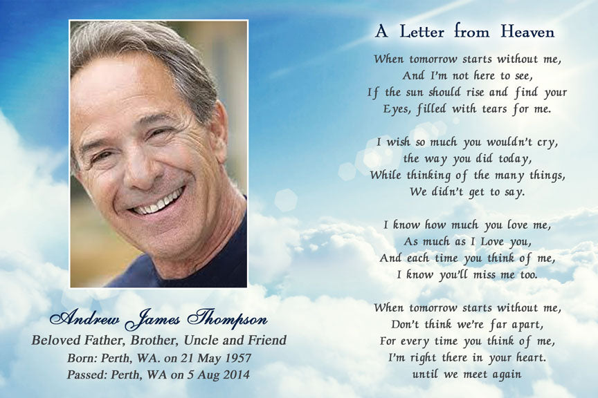 bereavement cards, blue sky memorial funeral card with photo, a letter from heaven poem funeral card