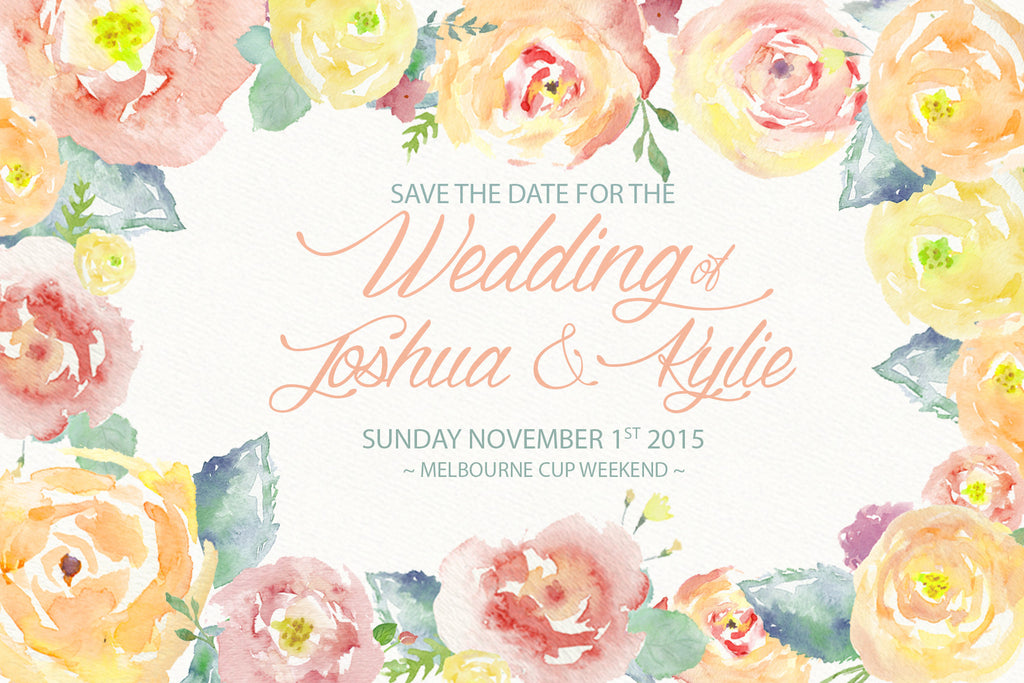 yellow floral watercolor wedding save the date card,