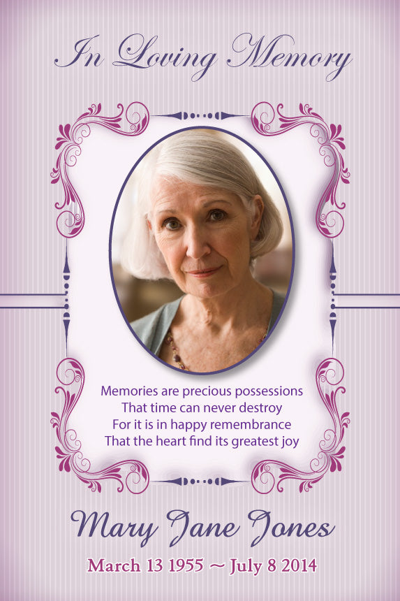 Soft purple pretty bereavement cards, purple memorial card with photo, Funeral card for loving grandma