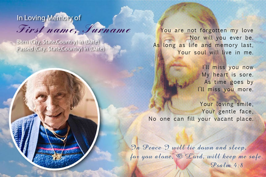 bereavement cards, memorial photo funeral card with Jesus, catholic funeral card