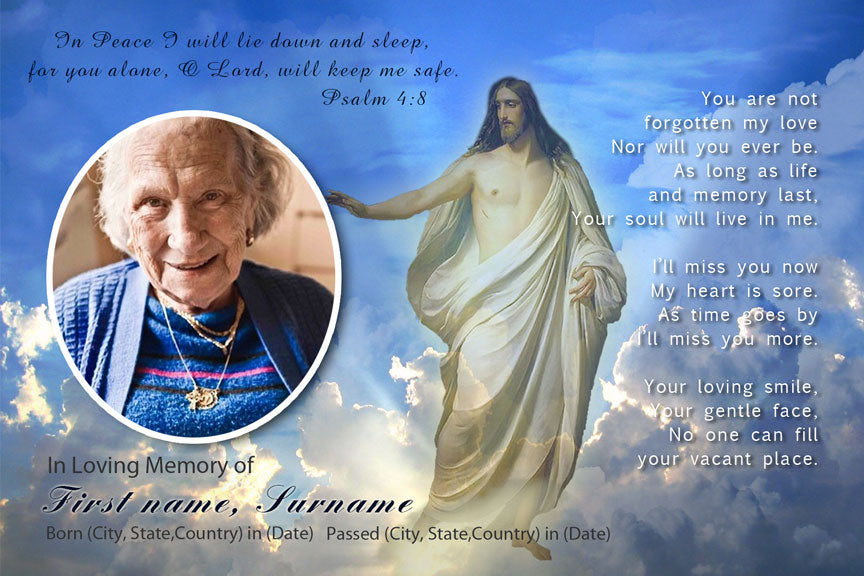 bereavement cards, sky with Jesus memorial funeral card with photo, catholic funeral card