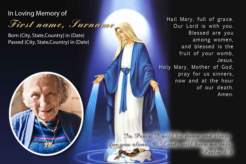 bereavement cards, memorial photo card with holy Mary, virgin mary funeral card