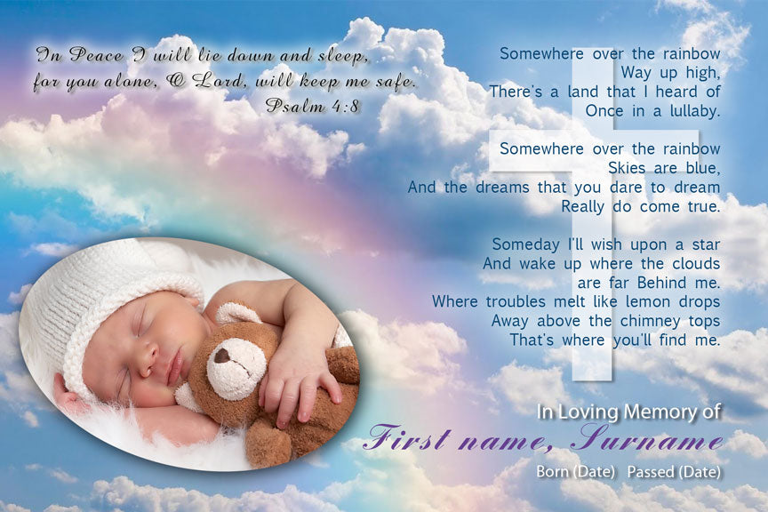 baby funeral card, over the rainbow memorial card for young child