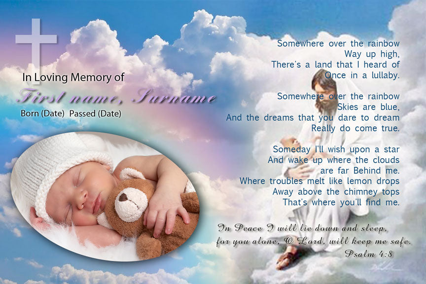 bereavement cards, blue sky and Jesus memorial funeral card with photo, jesus with baby and cross on rainbow heaven background