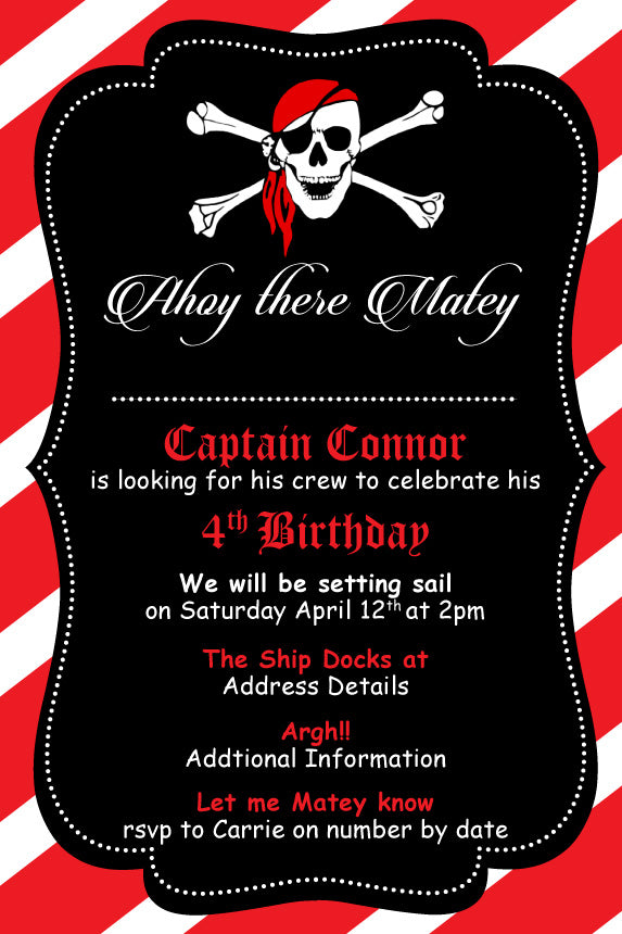 Pirate birthday party invitation,