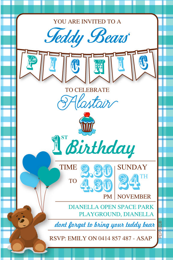 boys teddy bear 1st birthday party invitation,