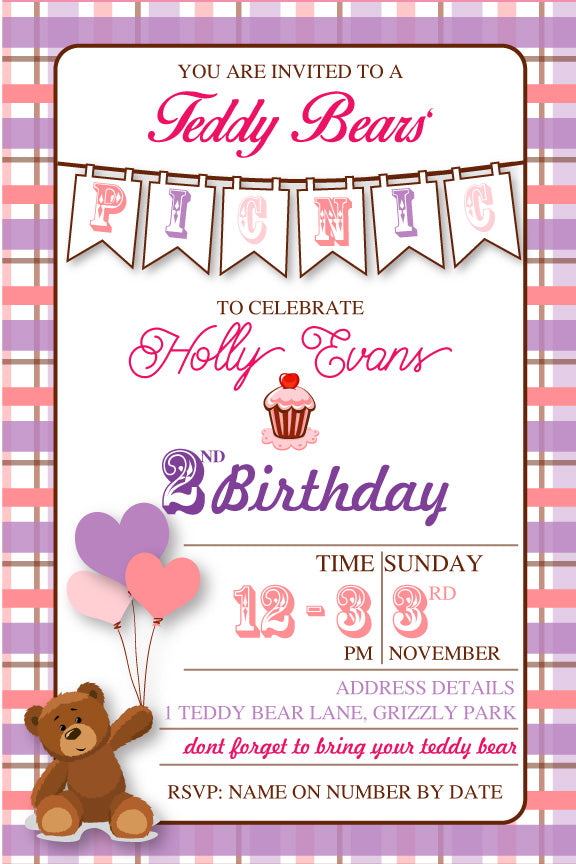Girl's teddy bear 1st birthday party invitation,