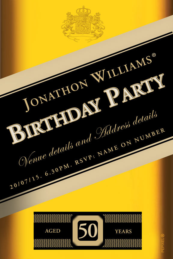 Johnny walker birthday party invitation Red label,