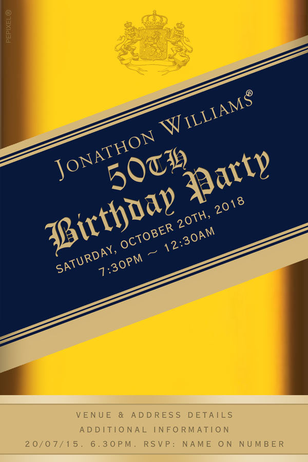 Johnny walker birthday party invitation Blue label,