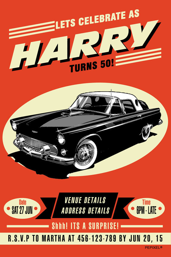 vintage car birthday invitation, retro car poster