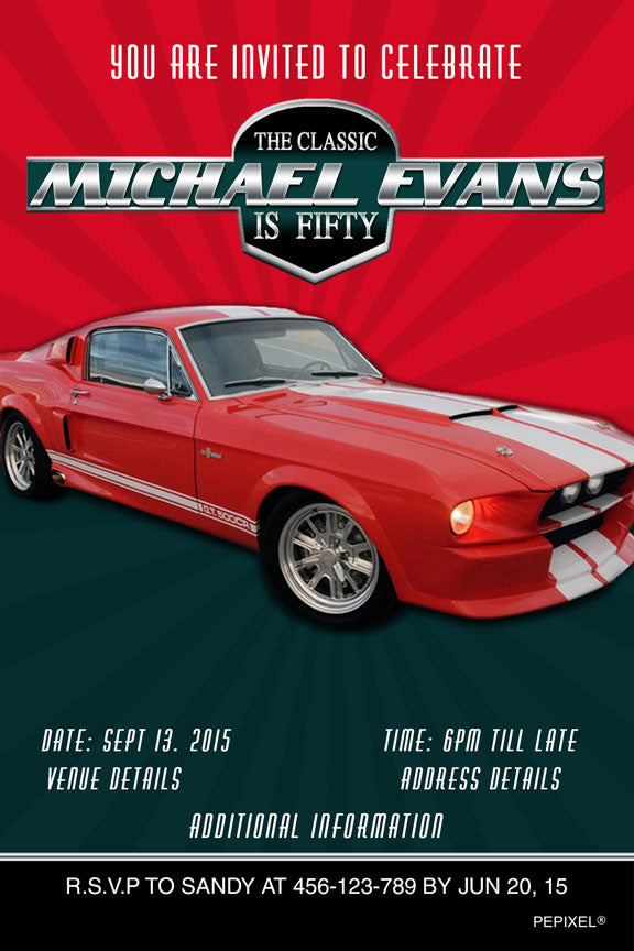 Mustang birthday invitation, red mustang birthday party invitation,