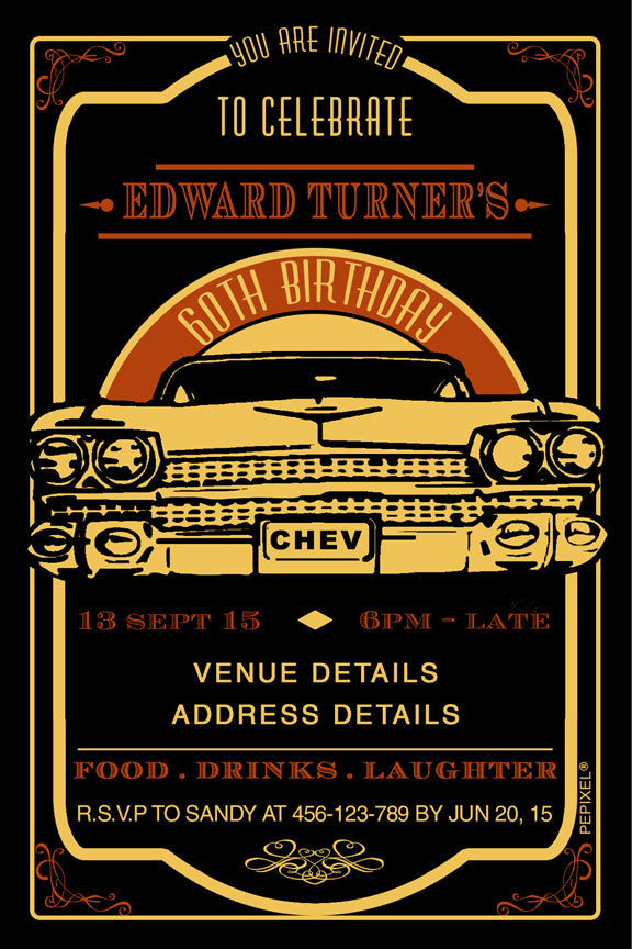 yellow retro car birthday party invitation,