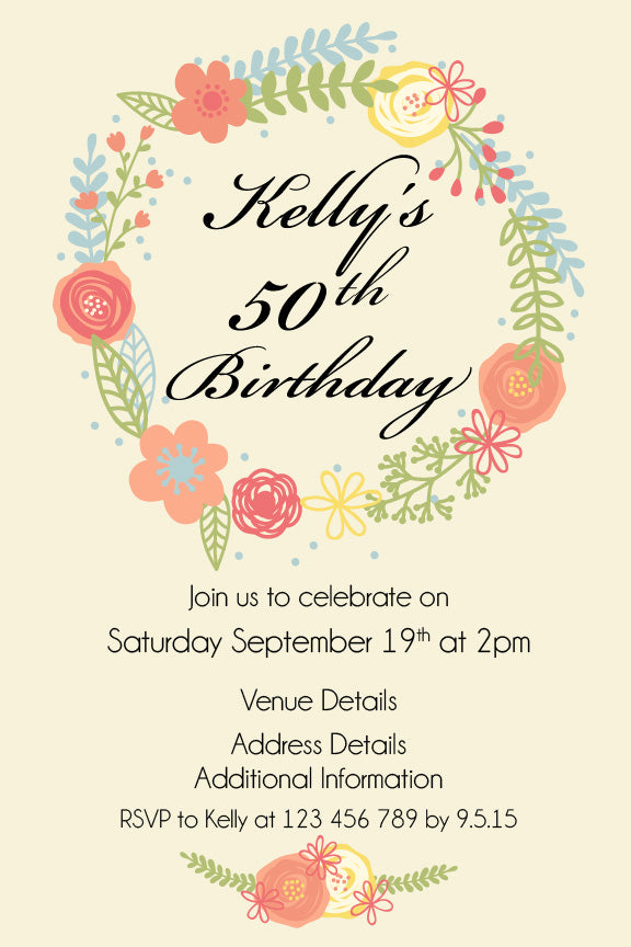 70th floral birthday invitations, cream with Floral wreath birthday invitation, floral wreath party invitation,