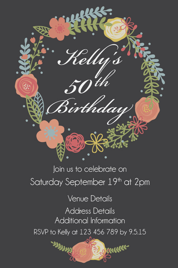 Grey with Floral wreath birthday invitation, 70th birthday invitations,  floral wreath party invitation,