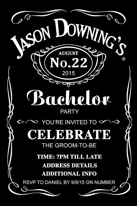 Jack Daniels bachelor party invitation, bucks party invite