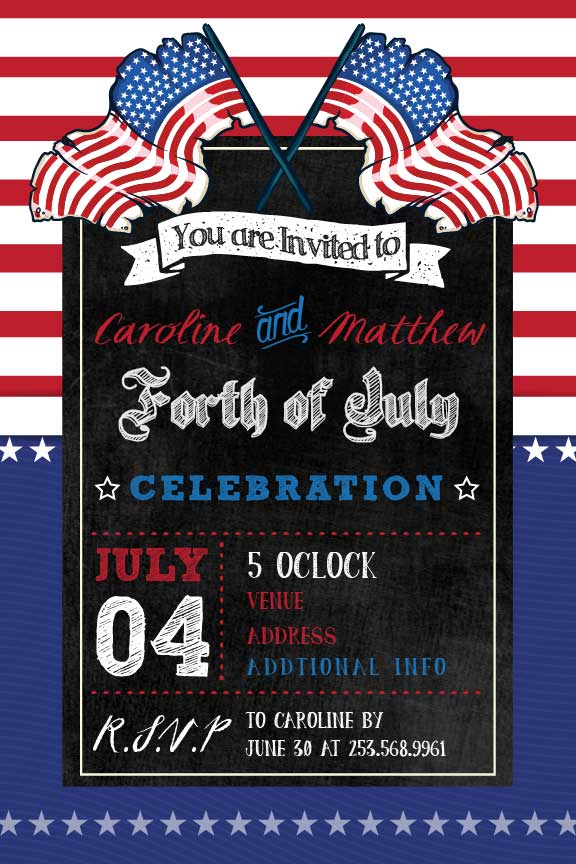 4th of July american flag party invitation,  patriotic day invitation,