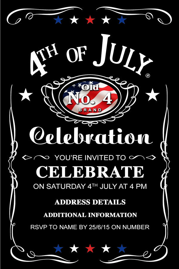 4th of July birthday party invitations,  4th of July Jack Daniels invitations, patriotic party invitation,