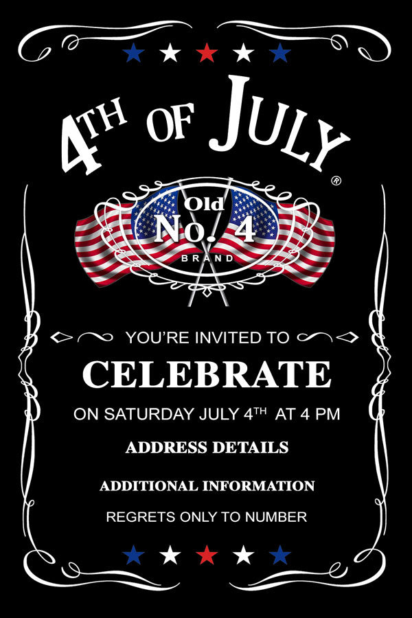 4th of July birthday party invitations,  4th of July  with usa flags Jack Daniels invitation,