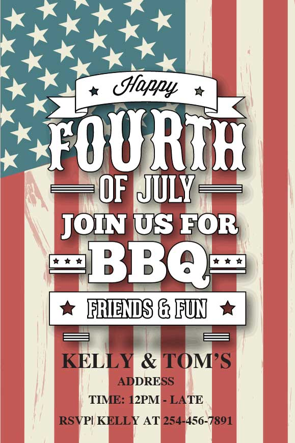 4th of July birthday party invitations,  4th of July american flag party invitation