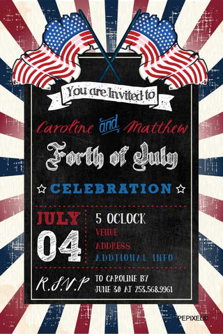 4th of July birthday party invitations,  patriotic party invite,