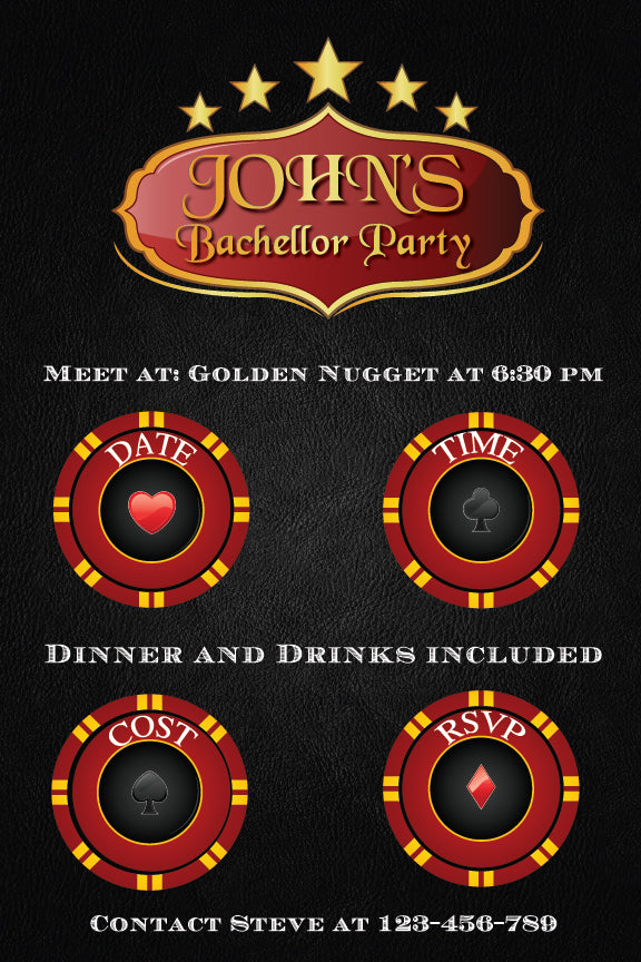 casino bachelor party invitation, poker bachelor party invitation,