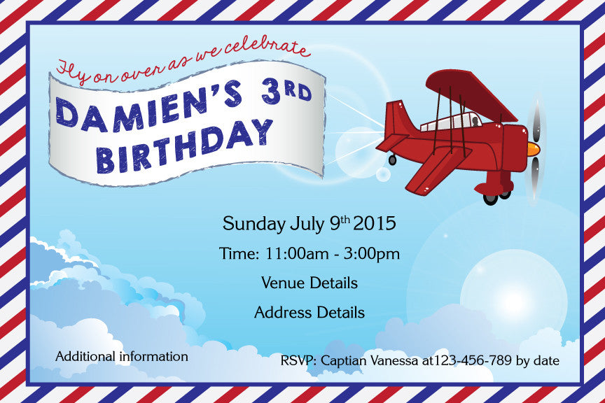aeroplane birthday invitations, vintage plane birthday invitation,