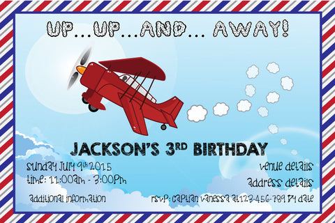 Kids Birthday Digital Printable Invitation Template Up Up Away - Airplane birthday invitation template