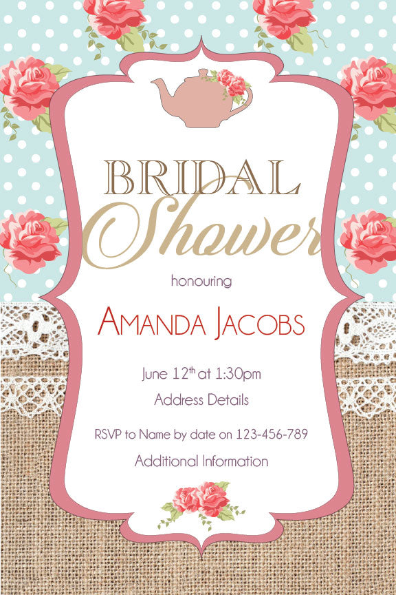 Burlap and floral bridal shower invitation,