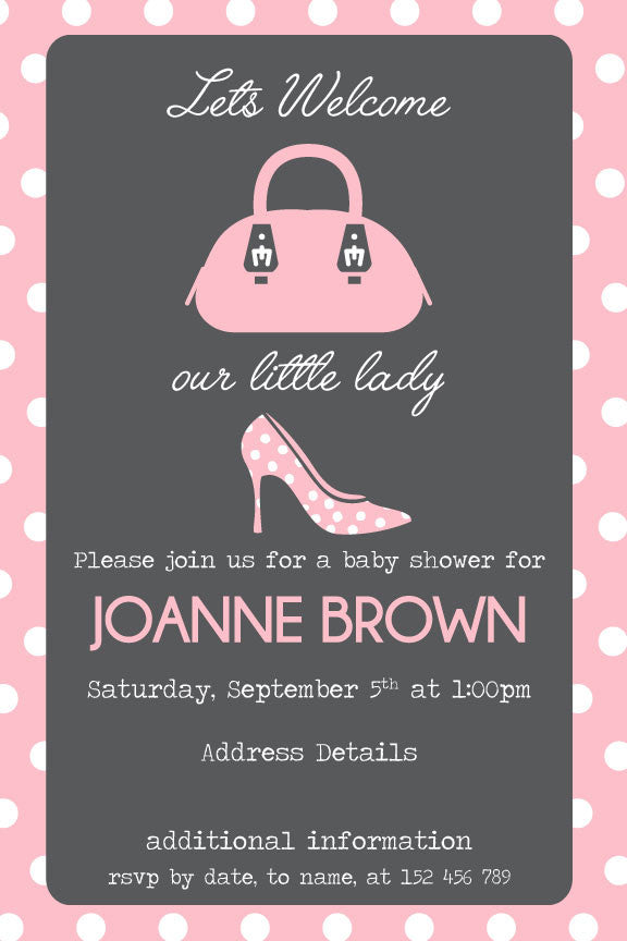 Pink and grey baby shower invitation, pink baby shower invitation,