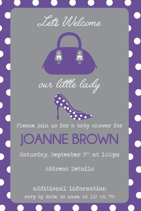 Purple and grey baby shower invitation, girl baby shower invitation,