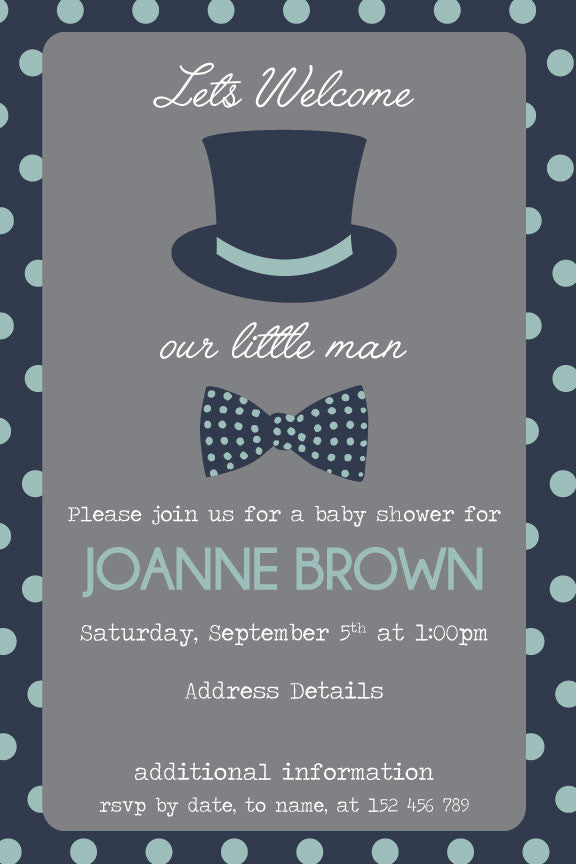 Blue and grey baby shower invitation, boy baby shower invitation,