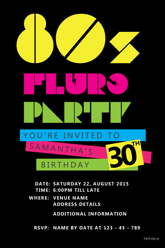bright coloured, fluro 80's birthday invitations
