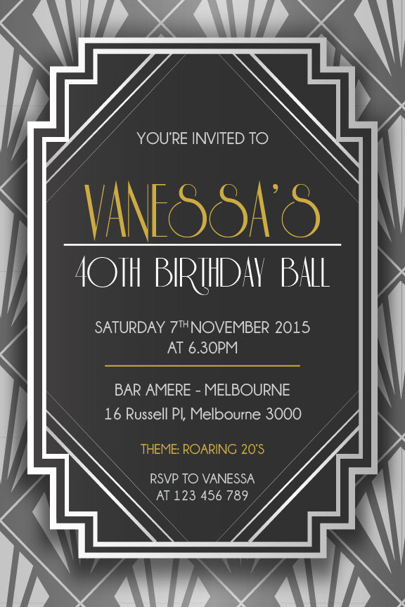 Great Gatsby Invitation, 30th birthday invitation 1920's theme