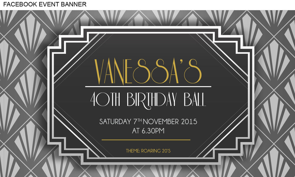 Great Gatsby Invitation, 30th birthday invitation 1920's theme facebook event banner image