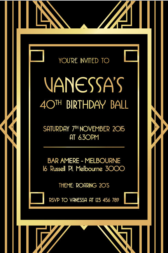 1920s great Gatsby invitation, great Gatsby  black and gold party, invitation